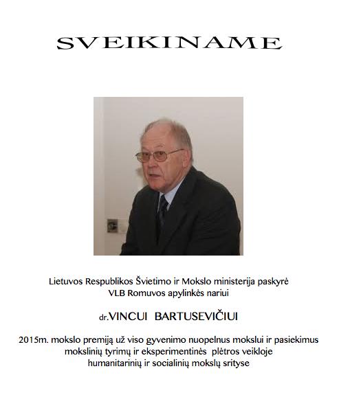 Sveikiname dr. V. Bartusevičių