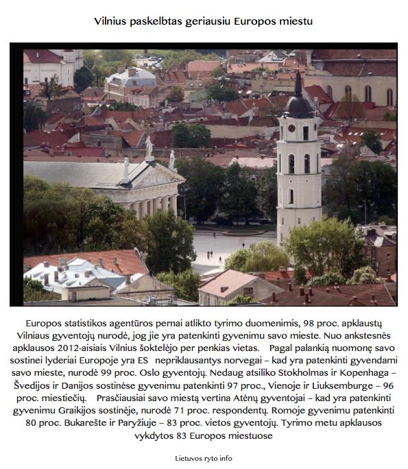 Vilnius tarp geriausių Europos miestų